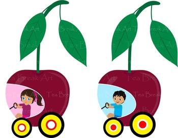 30 PNG Files- Fruit Racing Cars ClipArt- Digital Clip Art - 300 dpi 119