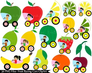 30 PNG Files- Fruit Racing Cars ClipArt- Digital Clip Art