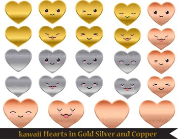 30 PNG Files- Kawaii hearts + 6 digital backgrounds CLIP ART- 300 dpi 083