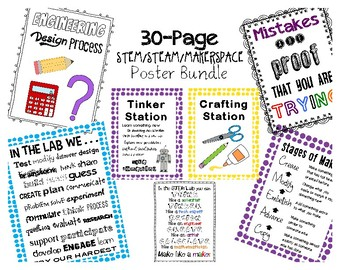 30-Page STEAM/STEM/Makerspace Poster Bundle