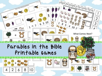 30 Parables in the Bible themed Printable Games and Activities. Christian Study
