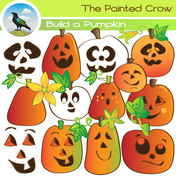 40 Piece Build a Pumpkin Clipart Set. Jack-o'-lantern Hall