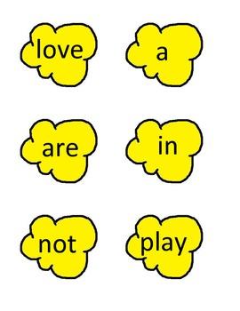 30 Popcorn Words (cute popcorn shape)