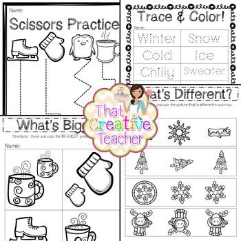 30 Pre K Kindergarten Winter Worksheets By That Creative Teacher