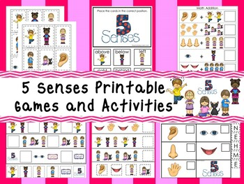 30 Printable 5 Senses themed Preschool Games and Activities. ZIP file.