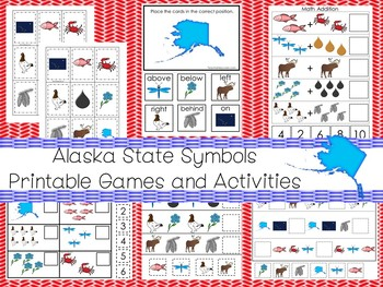 30 Printable Alaska State Symbols themed Learning Games Download. ZIP file.