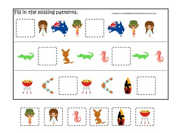 30 Printable Australia themed Preschool Learning Games Download. ZIP file.