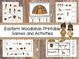 30 Printable Eastern Woodland Natives themed Preschool Games Download. ZIP file.