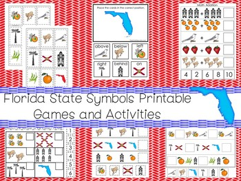 30 Printable Florida State Symbols themed Learning Games Download. ZIP file.