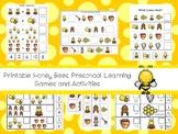 30 Printable Honey Bees Preschool Learning Games Download. ZIP file.