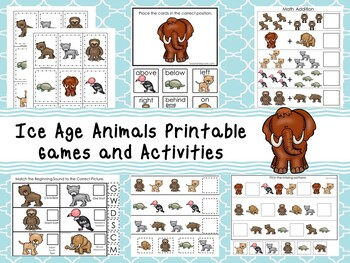 30 Printable Ice Age Animals themed Preschool Games and Activities. ZIP file.