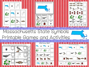 30 Printable Massachusetts State Symbols themed Learning Games Download. ZIP fi