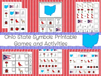 30 Printable Ohio State Symbols themed Learning Games Download. ZIP file.