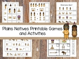 30 Printable Plains Natives themed Preschool Learning Games Download. ZIP file.