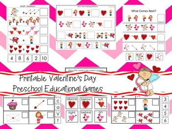 30 Printable Valentine's Day Preschool Learning Games Download. ZIP file.