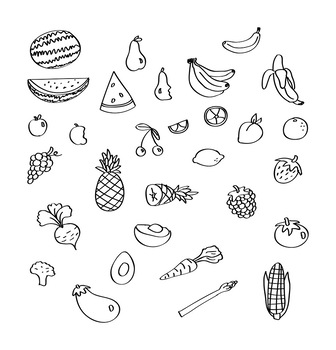 30 Produce Doodles | Fruits and Vegetables | Food Graphics | Vector Clipart