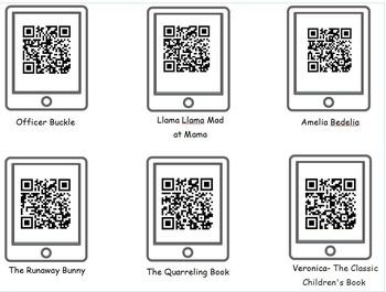 30 QR Code Read-a-Loud Book Videos/Worksheet Literacy Center/ Listening Center