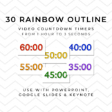 30 RAINBOW OUTLINE Video Countdown Timers - For PowerPoint