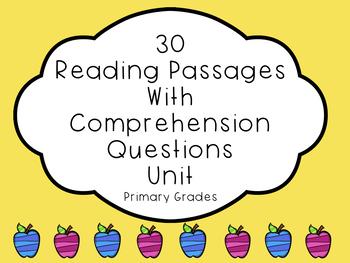 30 Reading Passages/Comprehension Questions Bundle