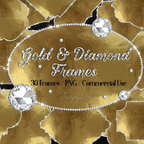 30 Real Gold and Diamond Frames Clip Arts Oval Square Frames