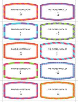 30 Reciprocal Task Cards w/ Answers