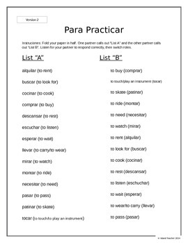 30 Regular -AR Spanish Verbs Vocabulary List and Oral Activity