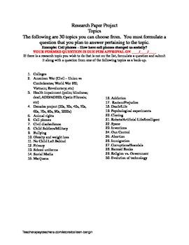 30 Research Topics