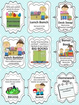 30 Rewards in Catalog Format with BONUS Writing and Math Activities