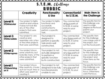 STEM Challenges Bundle - 30 For School or Home {Monthly} Rubric and Home Lettter