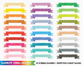30 Scribble Banners - Clipart / Digital Download 300ppi png files