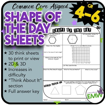 Shape of the Day Worksheets
