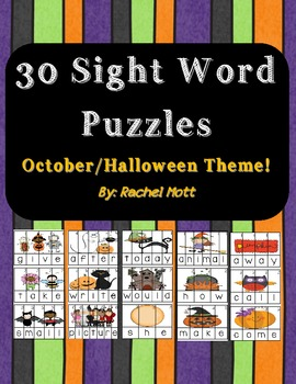 30 Sight Word Scramble Puzzles October & Halloween Themed!