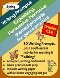 30 Spring Writing Prompts: Expository, Persuasive & Narrative, Grades 4-6