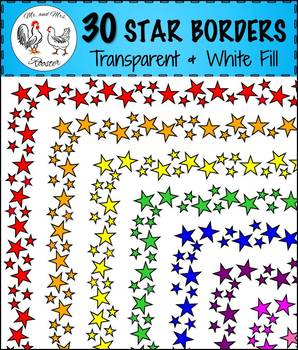 30 Star Page Borders {Clip-Art, Variety Colors, Transparent & White Backgrounds}