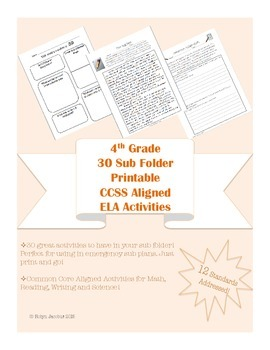 4th Grade 30 CCSS Aligned worksheets & activities-for Sub