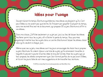 30 Sujets d'écriture pour Noël - 30 Christmas-themed writing prompts - French