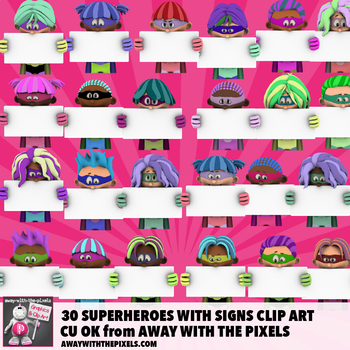 30 Superheroes With Signs Clip Art, Including 5 Superhero Backgrounds