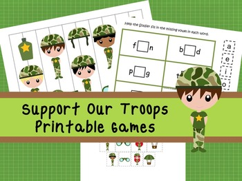 30 Support Our Troops Games Download. Games and Activities in PDF files.