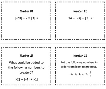 30 Task Cards Integers - Absolute Value, Additive Inverse, Zero Pairs