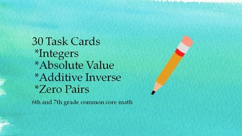30 Task Cards Integers - Absolute Value, Additive Inverse,