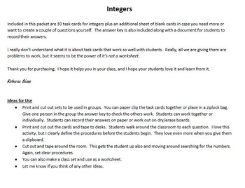 30 Task Cards Integers All Operations - 7th grade common core math