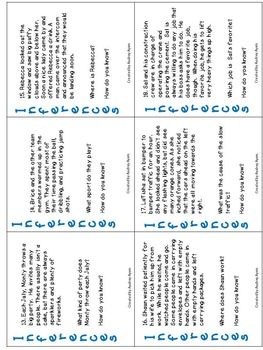INFERENCE Task Cards--30 Cards--Literacy Ideas, Reading, Common Core