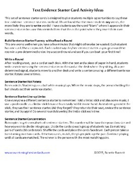 30 Text Evidence Sentence Starter Cards