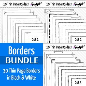 30 Thin Page Frame Borders ~ Money Saving Bundle