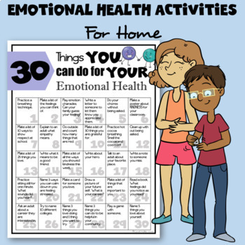 30 Things We Can Do For Our Emotional Health | SEL Resource Sheet