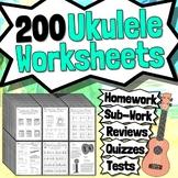 125 Ukulele Worksheets - Ukulele Tests Quizzes Homework Review or Sub Work!