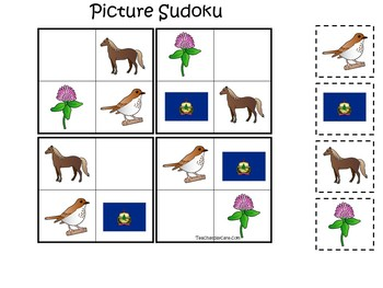 30 Vermont State Symbols themed Learning Games Download. ZIP file.