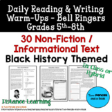 30 Warm-Ups Bell Ringers: BLACK HISTORY THEME: Non-Fiction for 5th-12th Grade