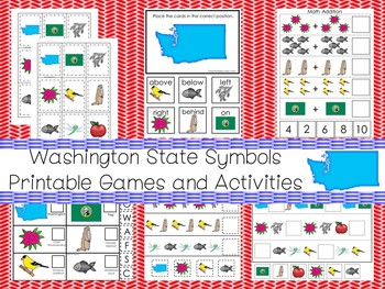 30 Washington State Symbols themed Learning Games Download. ZIP file.