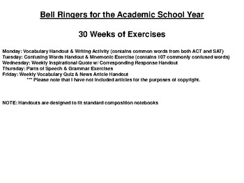 30 Weeks of Bell Ringers for the Academic Year